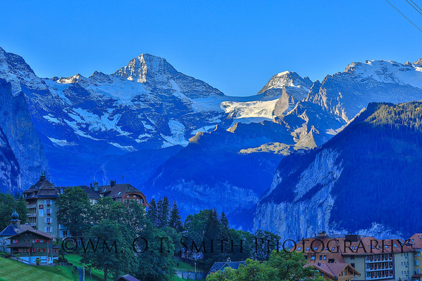 Sunset from our hotel balcony in Wengen Switzerland