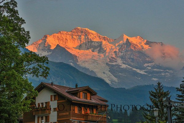 Sunrise from our hotel balcony in Wengen Switzerland