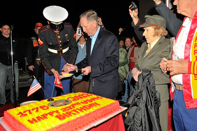 Riders celebrate the 237th birthday of the United States Marine Corps at Club Leatherneck in Las Vegas during the 2012 Ride2Recovery Honor Ride Las Vegas. The Honor Ride program raises funds and awareness through cycling events for the mental and physical rehabilitation of our nation?