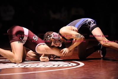 2/8/2012 Mike Orazzi | Staff Bristol Eastern's Peyton Soucy and Bristol Central's Matthew Trelli  in the 120 match at BC on Wednesday night.