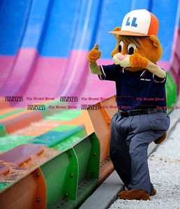 8/1/2012 Mike Orazzi | Staff Little League mascot Dugout at Lake Compounce during the shooting of a Little League World Series promotional video on Wednesday afternoon. *** for a Lluvia ***