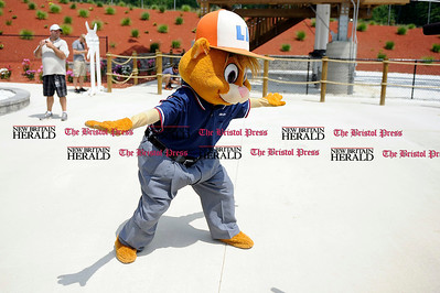 8/1/2012 Mike Orazzi   Staff Little League mascot Dugout at Lake Compounce during the shooting of a Little League World Series promotional video on Wednesday afternoon. *** for a Lluvia ***