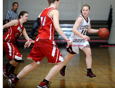 1/31/2012 Mike Orazzi | Staff Bristol Central's Katie Raymond (14) against Berlin at BC on Tuesday night.