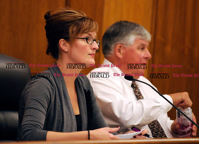 8/18/2010 Mike Orazzi | Staff Gina Newman, chairman of the Bristol Zoning Commission, during the zoning meeting at Bristol City Hall on Wednesday night.