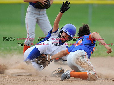 6/1/2012 Mike Orazzi | Staff Southington's Sarah Carangelo (6) steals second as Danbury's Erica Carboni (4) applies during the Class LL Quarterfinal with Danbury at SHS on Friday.