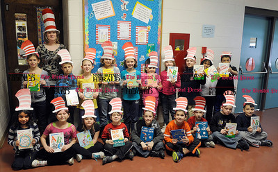 3/1/2012 Mike Orazzi | Staff South Side School Second Grade Teacher Kelly Bierut with her students wearing their hats for Read Across America Day, which will be held on Friday at the school *** Stand alone or for Lluvia's advance story ***