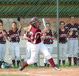 Bristol Central's Emily Cintorino takes a swing in the Rams 8-0 win over East Catholic.  Johnny Burnham | Staff