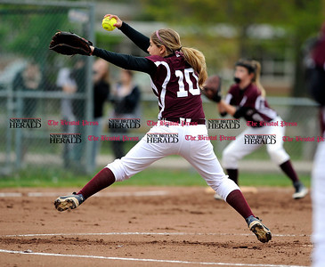 5/2/2012 Mike Orazzi | Staff Bristol Central's Emily Cintorino (10) pitching against Bristol Eastern at BE on Wednesday.