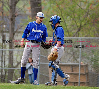 Bristol Eastern pitcher Mike Nocera and catcher Connor Fitzsimons have a quick meeting in Wednesday's game with Middletown.  Johnny Burnham | Staff