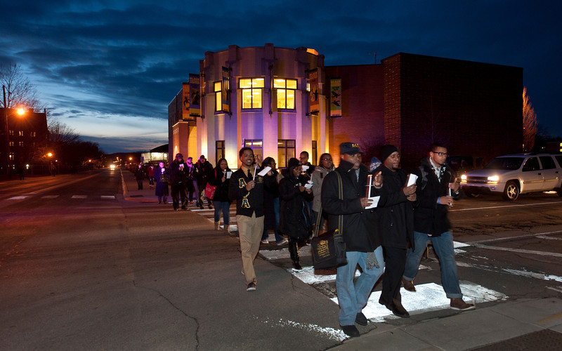 A candle light procession to Loeb Theatre preceded a talk by Dr. Bernice Johnson Reagon as part of the Dr. Martin Luther King Jr. Commemorative Program.   (Purdue University/ Mark Simons)
