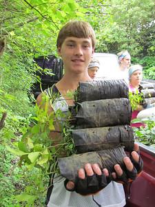 zane fields carrying tree seedlings