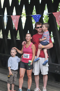 A family poses after the race