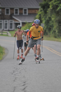 Jordan FIelds leads the more advanced skiers up a hill near the Pomfret Town School
