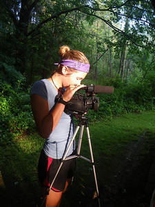 Katherine Imp sets up a camera for her documentary Beauty Beneath the Dirt  Chris Little Photo