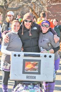 Brandy Dyer (left), Adam Ruggles (Center), Jenna Ouellette (right) Payton Ferland (behind cardboard stove)