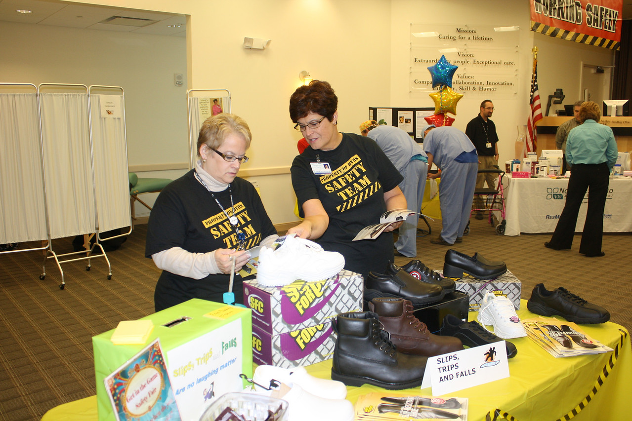 Safety Team members shopping the non-slip footware table.