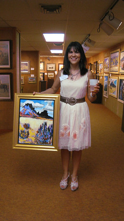 Angie Cook excited about getting one of Anthony Brown's paintings from the Quick Draw