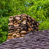 Stone Chimney on Rustic Cabin