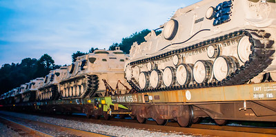 usa military tanks on train cars