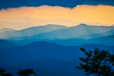Sunrise over Blue Ridge Mountains on stormy day