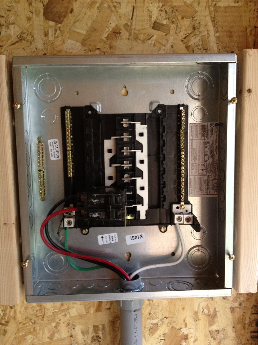 Brought the #6 THWN up into the breaker box and installed it to a 100A master breaker