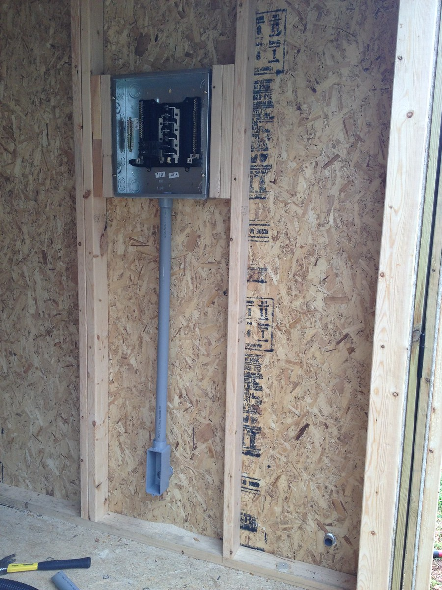 Installed junction box in shed