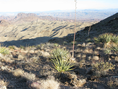 Crest view of layer terrain with Arizona backdrop