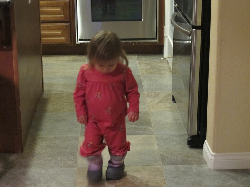 Wearing my snow boots for the first time. Getting ready for my Tahoe vacation at the end of February.