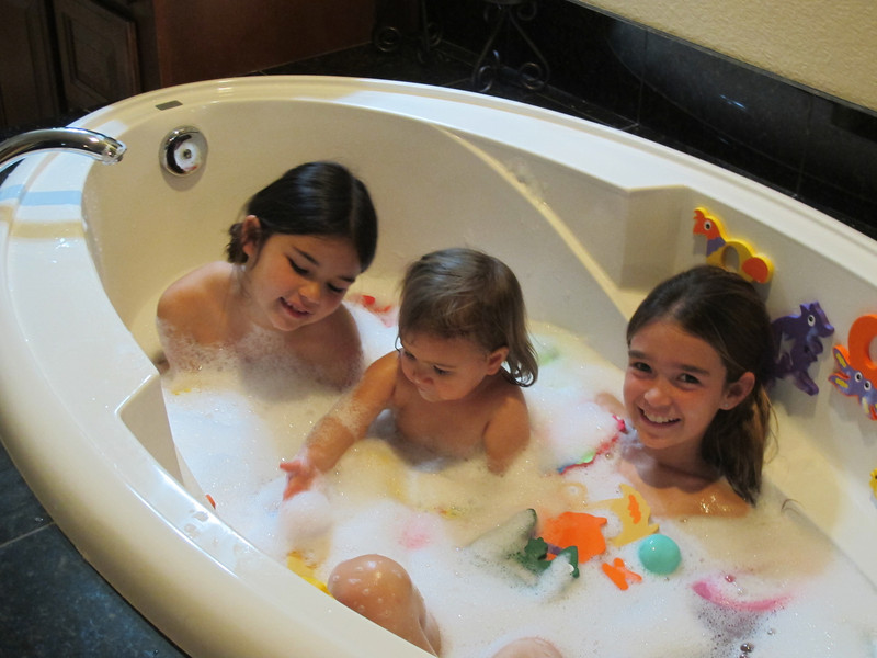 My first bubble bath with Lolo and Katie.