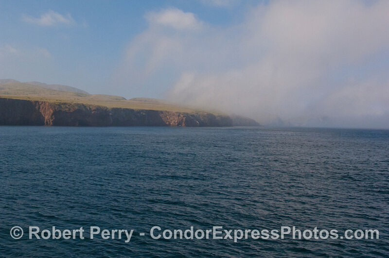 Looking west towards Scorpion Rock in the fog.  Santa Cruz Island - east end.