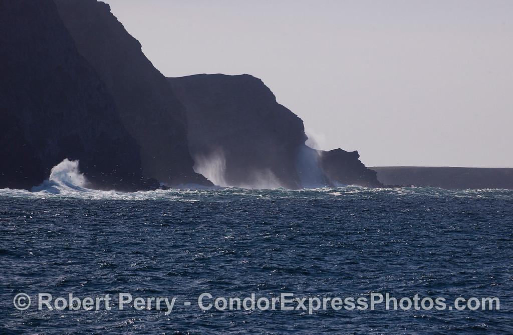 The West End of Santa Cruz Island.  The large crashing waves have sent the gulls flying.