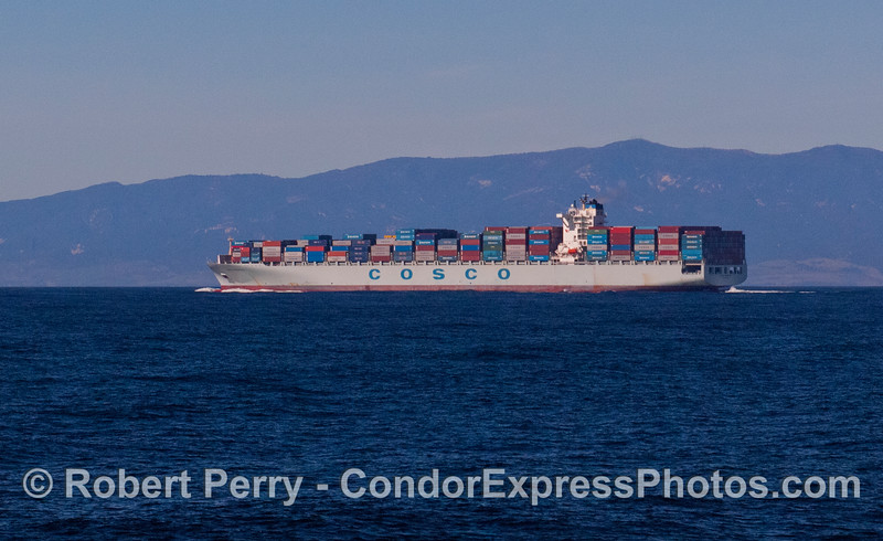 A northbound container vessel, Cosco Indonesia, in the Santa Barbara Channel shipping lane.
