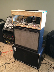 The live setup: Cow Pi through Ampeg 2x12 for crunchy tones, Fender Hot Rod Deluxe for clean tones
