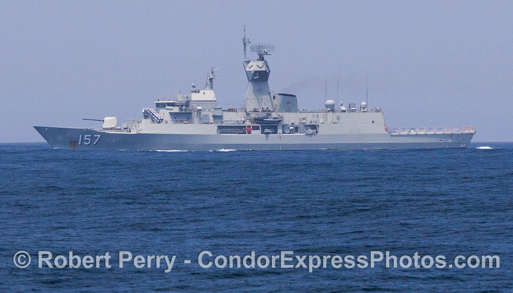 The Australian warship HMAS Perth FFH 157 seen on patrol in the Santa Barbara Channel.