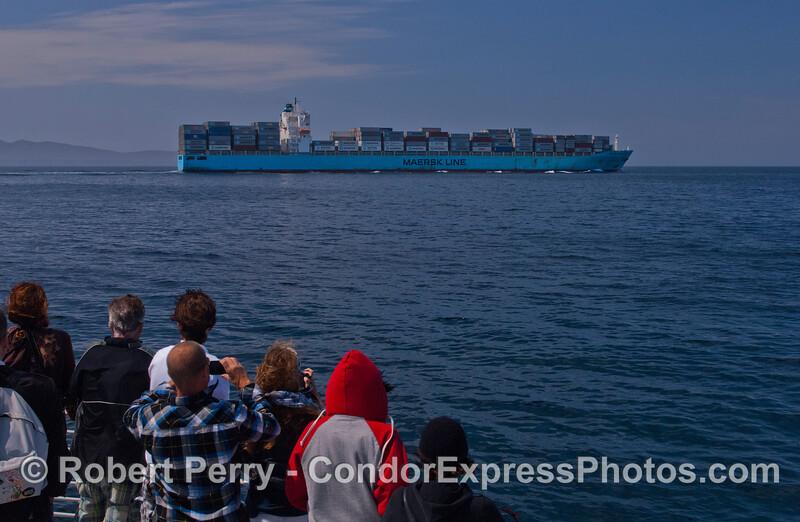 Container vessel Maersk Damietta heading west in the Santa Barbara Channel.