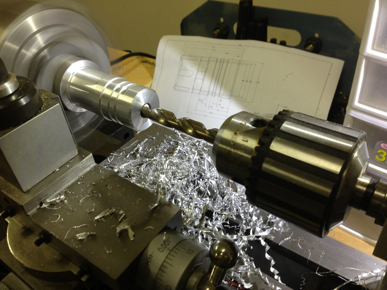 "Drilling through with a 3/8"" drill"
