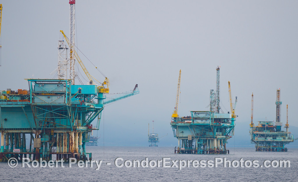The oil platforms off Carpenteria.  From left to right:  Platform B, A, and Hillhouse.