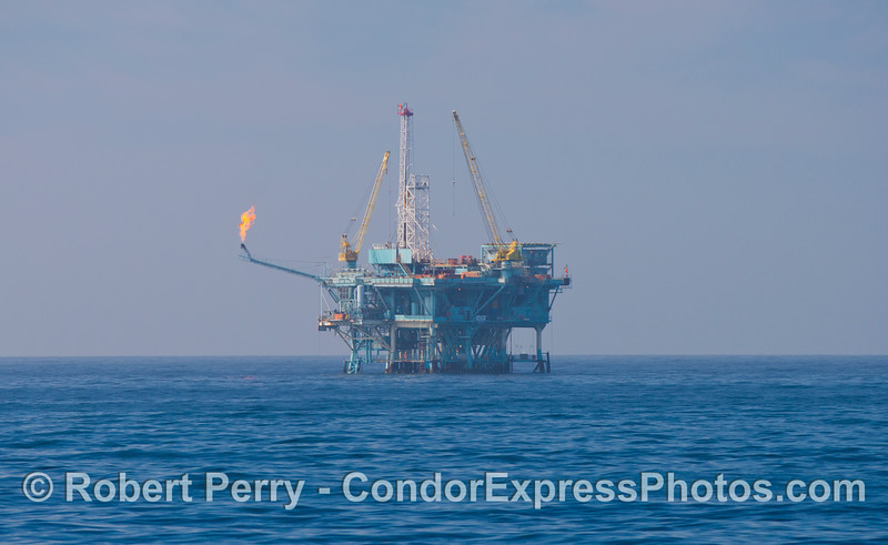 Platform B with natural gas burn-off flame.  Our offshore platforms send crude oil and natural gas via pipeline to shore based processing centers.  When the supply of natural gas exceeds the capacity of the pipeline, it is released and burned.