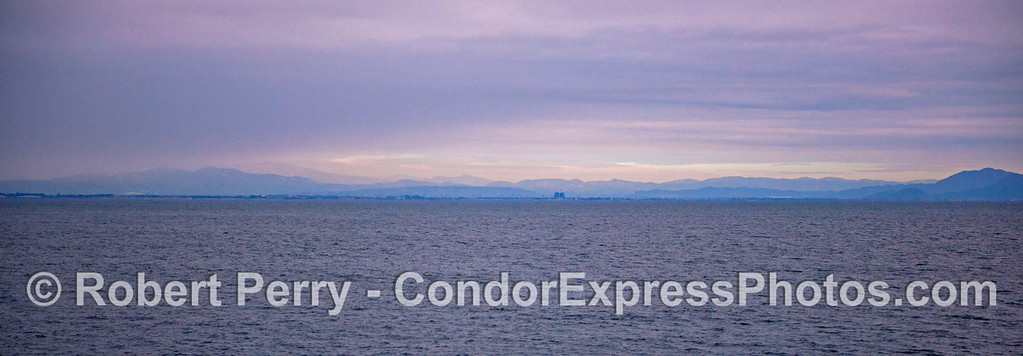 Panorama-Mainland coast-Boney Ridge and Camarillo from sea 2012 12-22 SB Channel-a-004