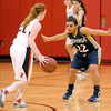 Courtney Caughey-Stambul/NEWS<br /> Shenango's Jenna Petrucci guards Neshannock's Erin Warvell.