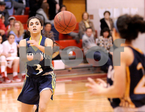 Courtney Caughey-Stambul/NEWS<br /> Shenango's Angelina Sibeto, left, passes the basketball to teammate, Ashleigh Presnar, last night against Neshannock.