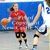 Courtney Caughey-Stambul/NEWS<br /> New Castle's Rachael Razzano handles the basketball last night against Ellwood City.