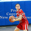 Courtney Caughey-Stambul/NEWS<br /> New Castle's Dana Perrotta looks to pass the basketball last night against Ellwood City.