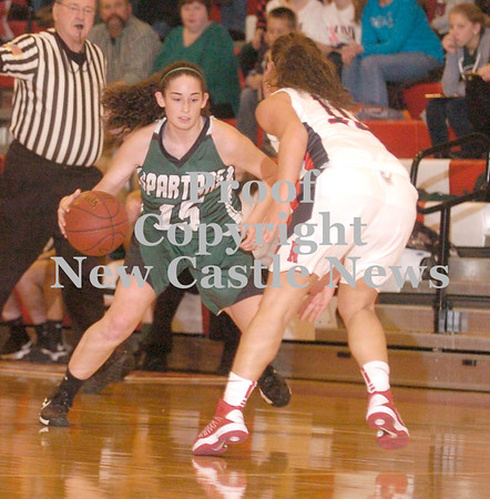 Erica Galvin/NEWS<br /> Laurel's Brooke Dicks dribbles down the court as Neshannock's Katie Burrelli defends.