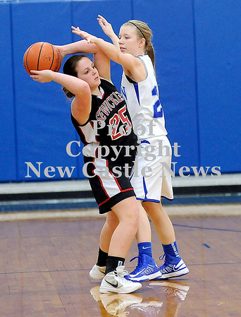 Courtney Caughey-Stambul/NEWS<br /> Union's Marissa Heaney guards Sewickley Academy's Rylee Vaccarelli.