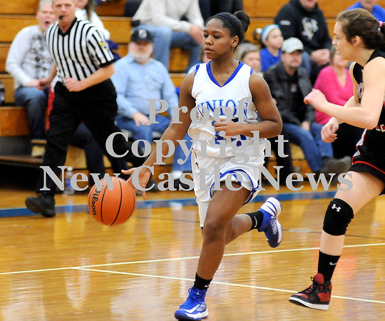 Courtney Caughey-Stambul/NEWS<br /> Union's Tyanna Harris handles the ball last night at home against Sewickley Academy.