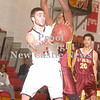 Erica Galvin/NEWS<br /> Mohawk's Vince Menichino passes to a teammate while New Brighton's Chris Pipkin defends.