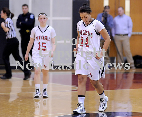Courtney Caughey-Stambul/NEWS<br /> New Castle's Jamay Walker, right, and Dana Perrotta react to last night's loss to Ambridge.