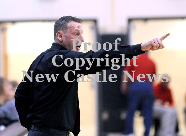 Courtney Caughey-Stambul/NEWS<br /> New Castle coach Scott Dibble instructs his players against Ambridge.
