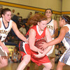 Erica Galvin/NEWS<br /> Neshannock's Erin Warvell fights off Shenango's Amanda Herb, Angelina Sibeto and Jenna Petrucci for control of the ball in the third quarter.